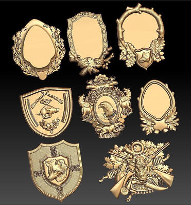 8 Pc Hunting Medallions 3d stl Model for CNC Router  Artcam Vectric Aspire