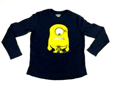 Minions Despicable Me Illumination Mens Long Sleeve Blue Thermal Shirt XL  46-48
