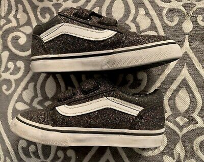 cf214d8b7e VANS SHOES TODDLER 9 Girls Glitter Sparkly Black Sneakers Velcro Kids  Tennis -  12.99
