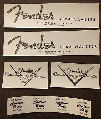 2 Vintage spaghetti style 62 S guitar headstock decal & 2 custom shop logo