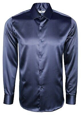 Mens Satin Wedding Dress Formal Smart Silky Feel Long Sleeve Shirt £17.99 (422)