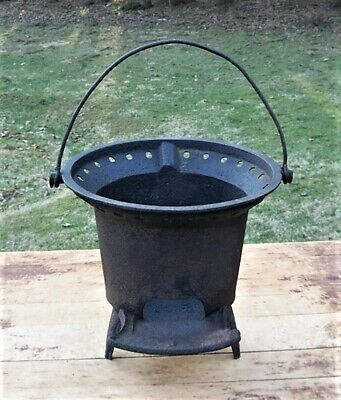 Antique Mid 1800's Gate Marked Cast Iron 3 Leg Portable Wood  / Charcoal Stove