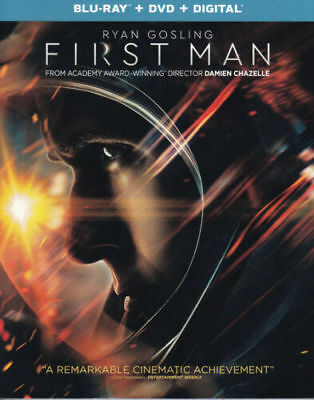"FIRST MAN  (Blu-ray + DVD)  w/SLIP COVER and CASE  NEW 2019 ""NOT A RENTAL"" USA"