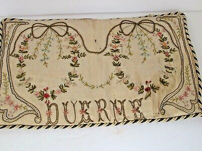 "Antique Finely Decorated Fancy Silk  Pillow ""Duerme"" Spanish for Sleep"