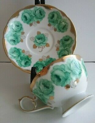 Japan Shafford Hand Decorated Emerald Green Rose Gold GIlded Teacup & Saucer