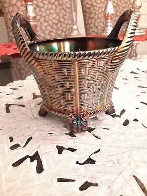Antique Northwood Carnival Glass Bushel Basket Cobalt Novelty Trinket Holder