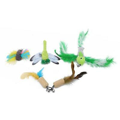Multi Pet Cat Kitten Toy Mouse Teaser Wand Feather Rod Cat Play FW