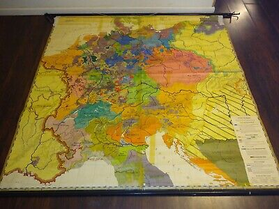 "75"" X 74"" Roll Down School Map GERMANY IM ZEITALTER DER REFORMATION 1438-1555..."