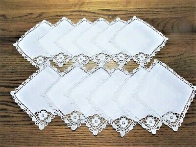 12 Vintage Linen And Lace Drink Cocktail Napkins Never Used