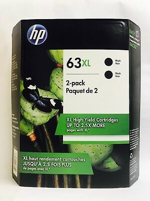 HP Genuine 63XL Black Twin In Retail Box Exp.2020 For HP ENVY 4512, 4513, 4520