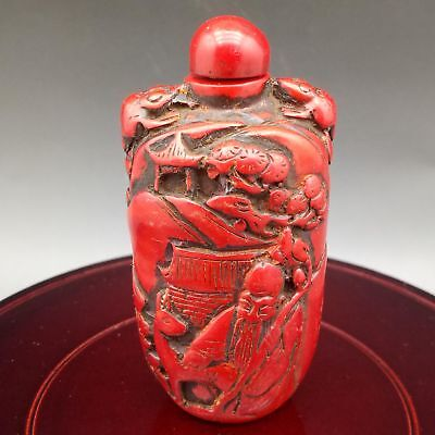 Exquisite Red Coral Hand Carved People & Cranes pattern Snuff Bottle  Z385