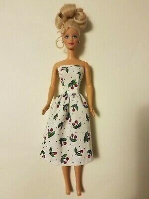 Handmade Barbie Clothes -  Cherries Print Party Dress - Made in the USA
