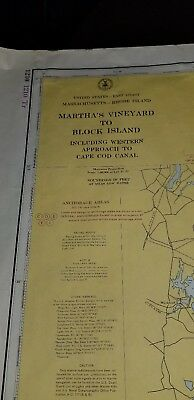 "ORIGINAL VINTAGE Martha's Vineyard to Block Island Nautical chart 50""x36"" MAP EX"