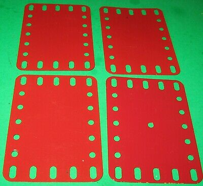"""MECCANO USED PARTS FLEXIBLE PLATES 3-1/2"""" x 2-1/2"""" LIGHT RED"""