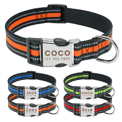 Nylon Personalized Dog Collar Reflective Engraved ID Buckle Small Large Labrador