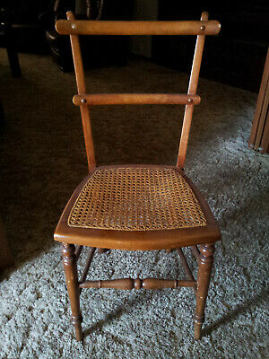 Original antique wood and wicker dining chair