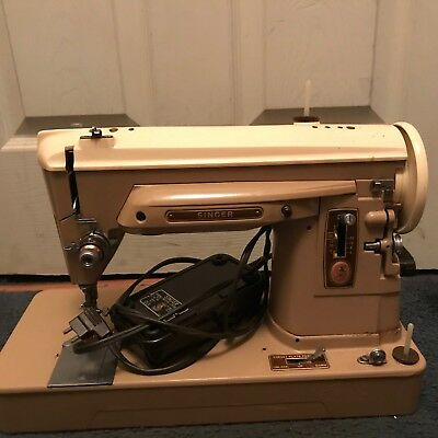Vintage Portable Singer Sewing Machine Model 404 Steel Heavy Duty W/Case