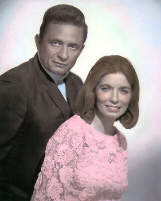 """JOHNNY CASH & JUNE CARTER COUNTRY WESTERN SINGERS 8x10"""" HAND COLOR TINTED PHOTO"""
