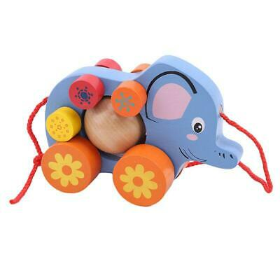 Baby Wooden Toddler Elephant Car Toy Infant Dragging Toys Kids Learn to Walk FW