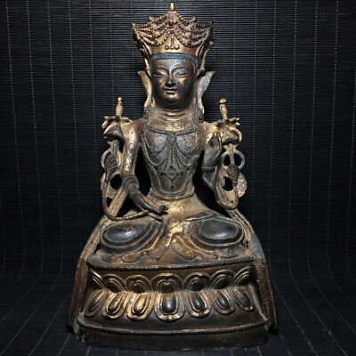 Extraordinary Unusual Archaic China Bronze Buddha Seated Statue Sculpture Marked