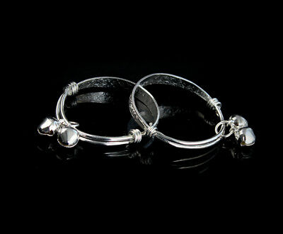 1 Pair New Fashion Gift Silver-plated Baby Kid Bell Bangle Bracelet Hot O30