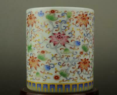 Chinese old  famille rose porcelain Hand painted flower brush pot b02