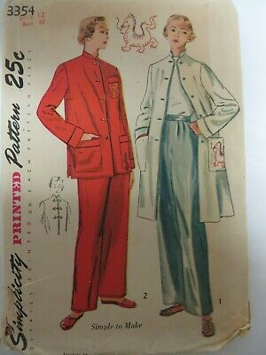 Vintage 1940's Simplicity 3354 PAJAMA & COAT Sewing Pattern Women Size 12