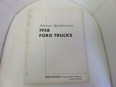 Ford 1958 Advanced Specifications Pamphlet Vintage Car Literature