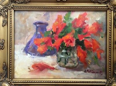 "Original Framed Impressionism Daily Oil Painting 9""x12"" Still Life Artist Signed"