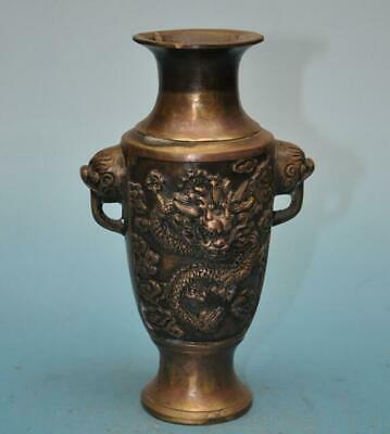 chinese old fengshui copper hand-carved longfeng Kemonomimi vase e01