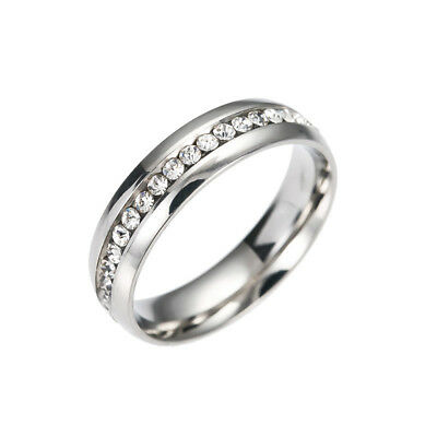 Men Women Stainless Steel Crystal Band Ring Gold Silver Wedding Band Ring Size 9