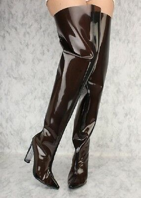 7af9f12b92 Black Thigh High PVC Boots Chunky Clear Heel Point Toe Over The Knee Flare  Boots