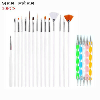 20PCS UV Gel Nail Art Decorations Brush Set Tools Dotting Painting Brush Pen DIY