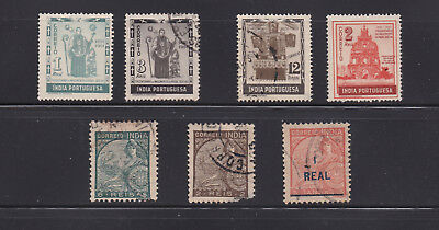Lot of 07 Portugese India Stamps - Mini Collection of Used Singles - Lot# PI09