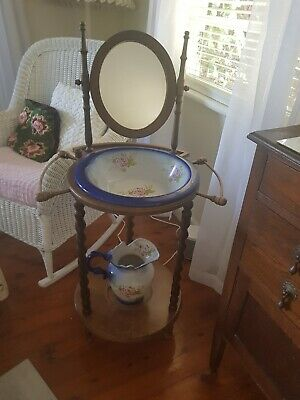 ?Edwardian Antique Wash Stand with bowl and jug