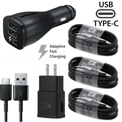 For Samsung Galaxy S8 S9 Plus Note 9 Adaptive Fast Wall Car Charger Type-C Cable
