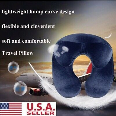 Soft U Shaped Inflatable Travel Pillow Neck Support Head Rest Airplane Cushion