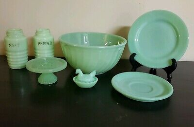 7 Fire King Jadeite Bowl, Ribbed Shakers, And More