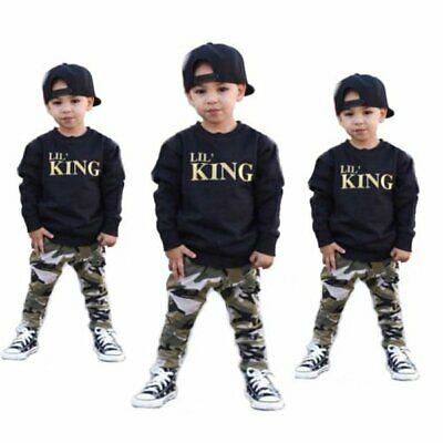 Autumn Toddler Kids Baby Boys T Shirt Tops+Camouflage Pants Outfits Clothes Set