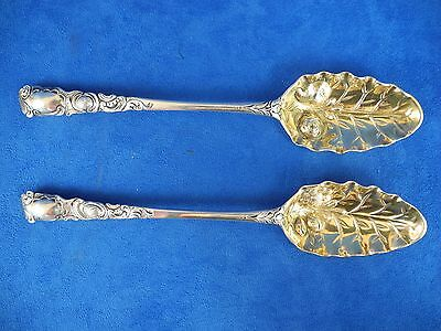 Antique Pair of Sterling Silver Repousse Serving Spoon Gold Wash Bowl
