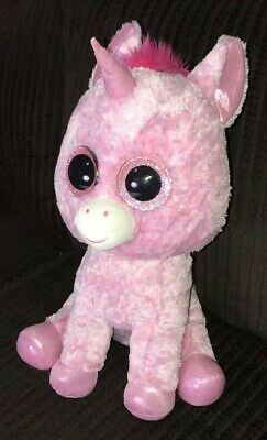 "4becfa59a03 Ty Beanie Boos ROSEY the Unicorn 17"" Large Pink Stuffed Plush Rare Retired"