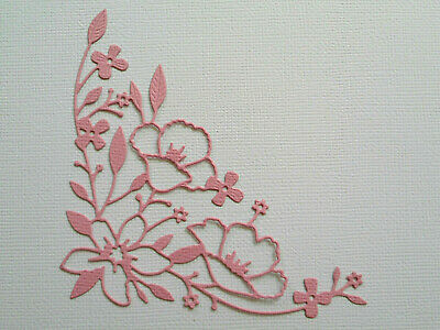Flower Corner Flourish Die Cuts x 8 - made from Paper - Scrapbooking Card Topper