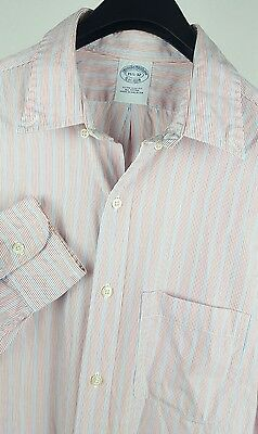 0900653099 BROOKS BROTHERS Mens Red/White/Blue Striped LS Dress Shirt 16-32 Extra