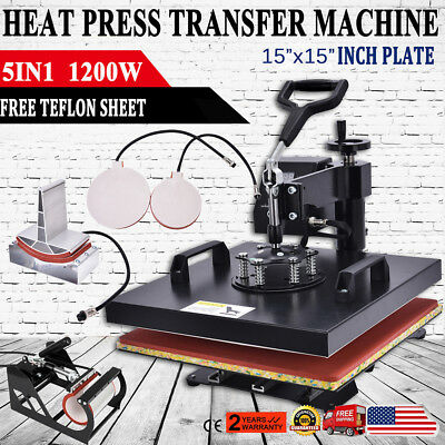 "5 in 1 Heat Press Machine For T-Shirt Combo Kit Sublimation Swing Away 15""x15"" S"