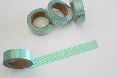 Gold foil lattice on mint washi tape, mint washi tape, Planner accessories