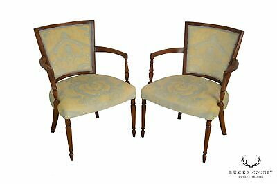 French Directoire Style Vintage Pair Armchairs
