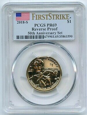 2018-S $1 Reverse Proof 50th Anniversary Sacagawea Dollar PCGS PR69 First Strike