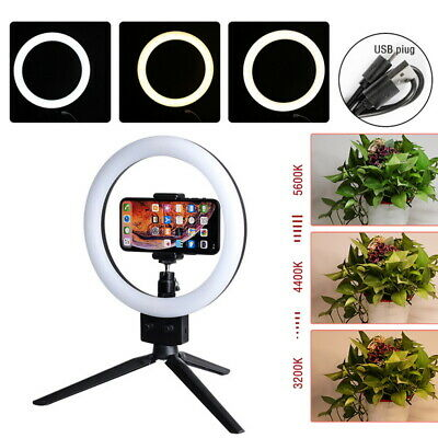 """7"""" LED Photography Ring Light Dimmable 5500K Lighting Photo Video Stand Black"""
