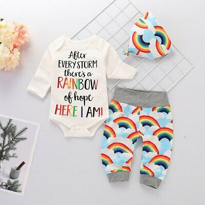 Newborn Baby Girl Boy Romper Tops Jumpsuit+Rainbow Pants Hat Outfits Clothes Set