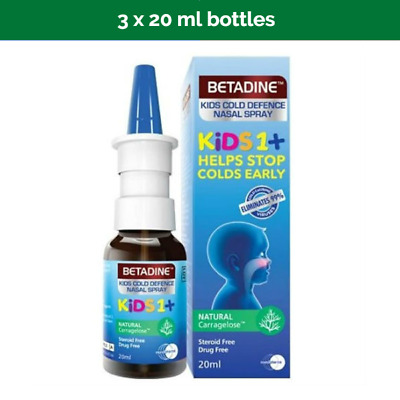 2 BETADINE Cold Defense Nasal Spray for kids kills most common cold/flu viruses